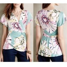 Anthropologie Deletta Womens Azores Top Size M Twist Front Blouse Floral Green
