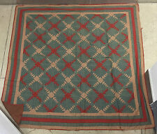 LATE 19th Century - GREEN & RED QUILTED RUG - COTTON - LOG CABIN