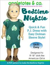 """American Girl Doll Sewing Pattern - Bedtime Nightie Sewing Pattern for 18"""" Dolls"""