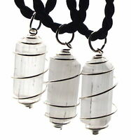 Selenite Rare Double Terminated Point Gemstone Crystal Spiral Pendant