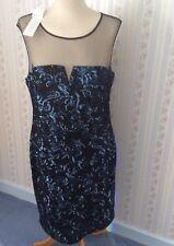 Ladies Gina Bacconi Blue Sequin Mesh Dress - Size UK18 - BNWT