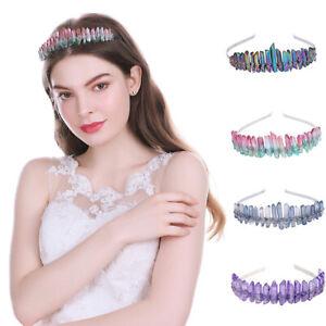 Women Girl's Raw Crystal Quartz Crown Tiara Mermaid Headband Wedding Costume