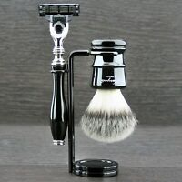Triple Edge Cartridge Razor & Synthetic Hair Brush 3 Piece Mens Wet Shaving Set