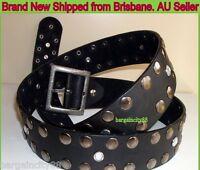 Women Girls Quality Wide Vintage Metal Button Studded Black Genuine Leather Belt