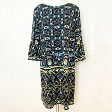 MAGGY LONDON Floral Geo Paisley Print Long Flounce Bell Sleeve Shift Dress Sz12