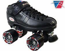 New Riedell R3 Black Outdoor Quad Roller Speed Skates with Trailblazer Wheels