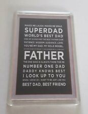 World's Best Dad, Superdad, Father. Gift, Fathers Day, keepsake Fridge Magnet.