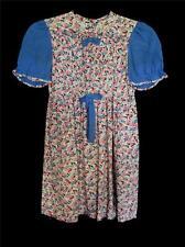 RARE FRENCH VINTAGE 1940'S WWII ERA PINK & BLUE COTTON PRINT GIRLS DRESS SZ 7-8