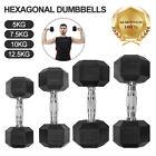 Loefme Hex Dumbells Cast Iron Hexagonal Dumbbell Set Home Gym Weight Lifting