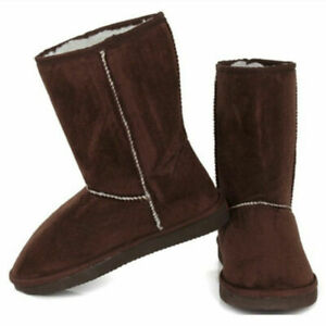 Women Round Toe Slip On Casual Winter Mid-calf Warm Snow Suede Ladies Flat Boots