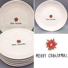 """6 Rae Dunn Merry Christmas Dinner Plate Set Red Poinsettia Farmhouse Pottery 11"""""""