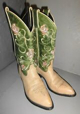 Vintage Code West Cowboy Cowgirl Leather Boots Womans Pink Rose Accent