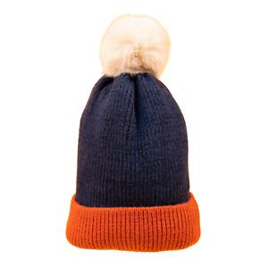 Powder Bonnie Women's Bobble Hat | Navy/Tangerine | SBoutique