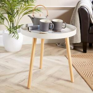 White Round Coffee Accent Side Table Modern Living Room Furniture Lipped Edge
