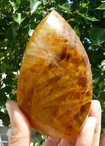 Golden Healers Quartz Polished Flame 372 grams