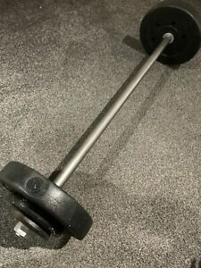 Weight BarBell - Heavy duty solid steel Spinlocks *Weight Lifting Gym Handles