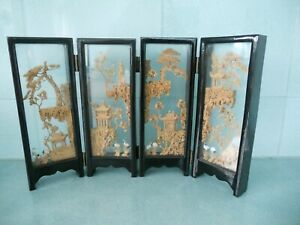 VINTAGE CHINESE JAPANESE ORIENTAL LACQUERED TABLE SCREEN WITH CORK ART PANELS