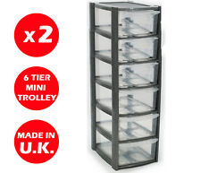 2 X 6 DRAWER SILVER TOWER UNIT -PLASTIC DRAWERS -STORAGE ORGANIZER - MINI/SMALL