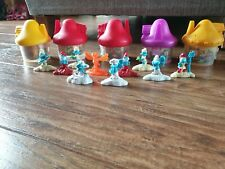 5 x McDonalds Smurf Houses and 10 Figures - Excellent Condition