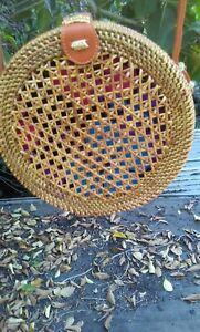 Handwoven Bali Round Rattan Bag With Botton Clip Circle US stock