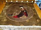 Woven Wool & Silk Tapestry With Fringe Asian Lady Absolutely Gorgeous 36X42