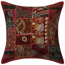 """Indian Cotton Decorative Home Maroon 16"""" Vintage Patchwork Floral Cushion Cover"""
