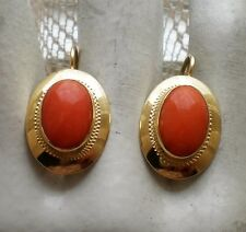 European Italy 18K 750 Yellow Gold Salmon Tomato Red Coral Leverback EARRINGS