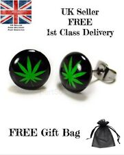 High Quality Cannabis Weed Rasta Stud Earrings Jamaican Black Green Bud Jamaica