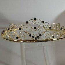 Gold plated alloy with Dark green crystal filigree scroll  heart tiara 40107gg