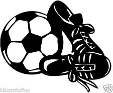 SOCCER BALL AND SHOES BUMPER STICKER TOOL BOX STICKER LAPTOP STICKER