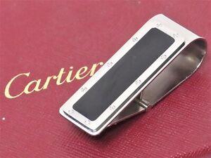 Authentic Cartier Money Clip Silver Black Spain 18636550