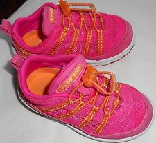 Girls 8, Land's End, hot pink slip on sneakers