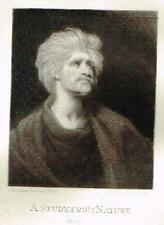 "Mezzotint Engraving Proof - By Sir Joshua Reynolds' ""STUDY FROM NATURE"" - c1820"