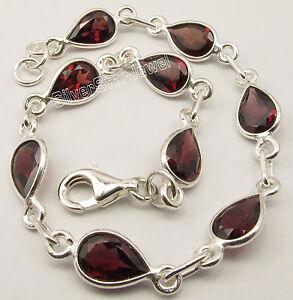 """.925 Sterling Silver RED GARNET FACETED ADJUSTABLE Bracelet 8.3"""" 7.4 Grams"""