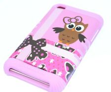 iPod Touch 4th Gen - HARD & SOFT RUBBER HIGH IMPACT CASE BROWN OWL BIRD PINK BOW