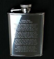 Robert Frost Road Not Taken Poem Engraved on Stainless Steel Hip Flask