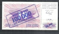 BOSNIA #34a UNC MINT 100000 DINARA OVERPRINT CURRENCY BANKNOTE NOTE BILL