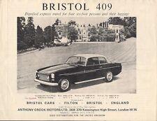 Bristol 409 1966-67 UK Market Foldout Sales Brochure