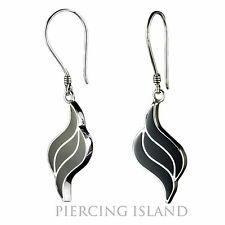 Edle schwarze Muschel Ohrringe Hänger 925er Silber Design SER154