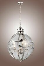 Victorian Hotel Pendant Globe Chandelier Polished Nickel Restoration Rustic