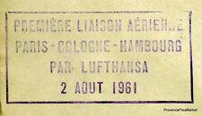 1961 LUFTHANSA PARIS COLOGNE HAMBOURG Airmail Aviation premier vol AC20