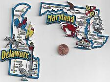 MARYLAND and DELAWARE   STATE JUMBO MAP  MAGNETS  7 COLOR   NEW USA  2 MAGNETS