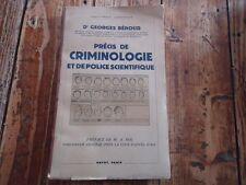 PRECIS DE CRIMINOLOGIE POLICE SCIENTIFIQUE BEROUD MEDECIN LEGISTE EXPERT CHIMIST
