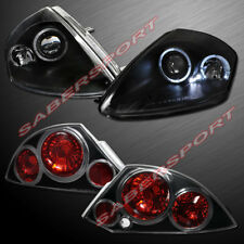 Set of Black Halo Projector Headlights + Taillights for 2000-2002 Eclipse
