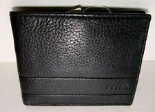 Fossil Men's Slim Bifold Wallet Lufkin Pebbled Black Leather NWT