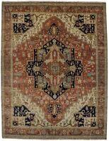 Hand Knotted Geometric Design Heriz Serapi 8X10 Muted Oriental Rug Decor Carpet