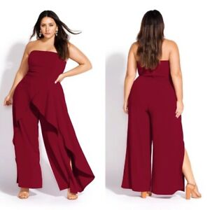 City Chic Women's Strapless Attraction Burgundy Ruffle Jumpsuit Size 18/M NEW