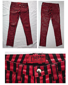 Tripp NYC pants - Red and Black stripe vinyl coated jeans - Women's