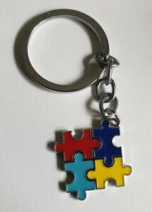 Colourful JIGSAW Design Keyring - Autism Awareness  UK STOCK