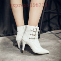 Women Winter Ankle Boots High Heel Pointed Toe Buckle Shoes Fashion
